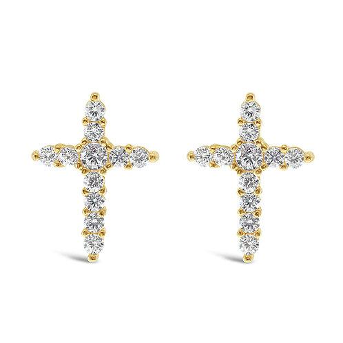 Bitter Sweet Gold Plated Sterling Silver Cubic Zirconia Cross Earrings 141382