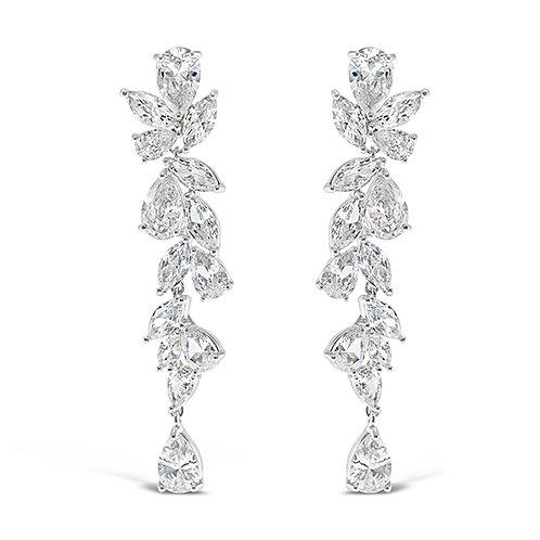 Bitter Sweet Bridal Silver Cubic Zirconia Drop Earrings 142879