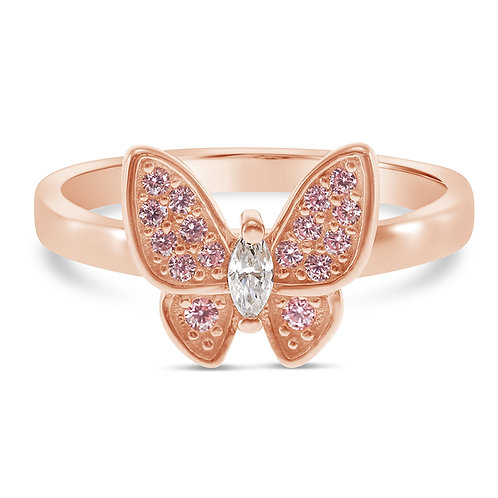 Bitter Sweet Rosegold Plated Sterling Silver Cubic Zirconia Ring 131319