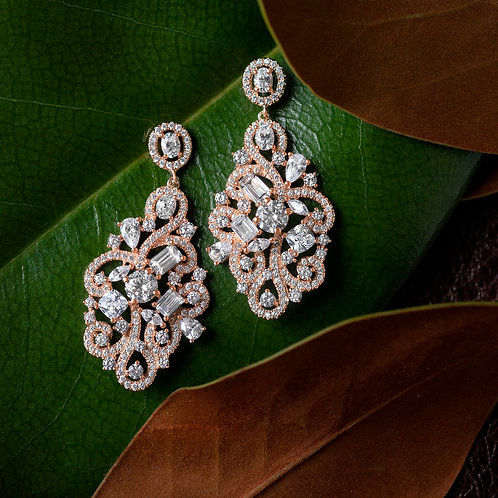 Rose Gold Plated Sterling Silver Cubic Zirconia Earrings 132975