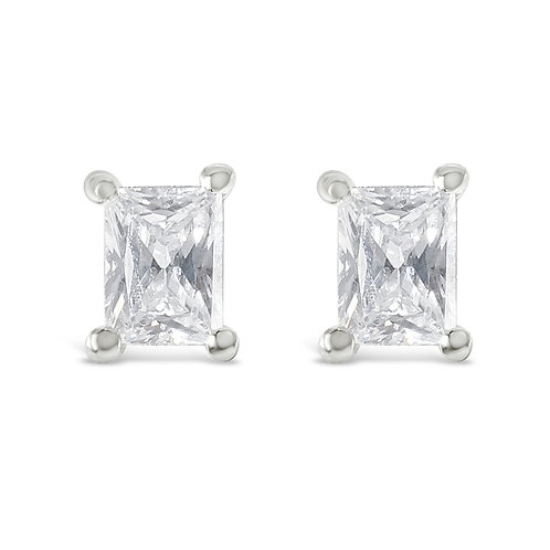 Sterling Silver Cubic Zirconia Baguette Studs 143348
