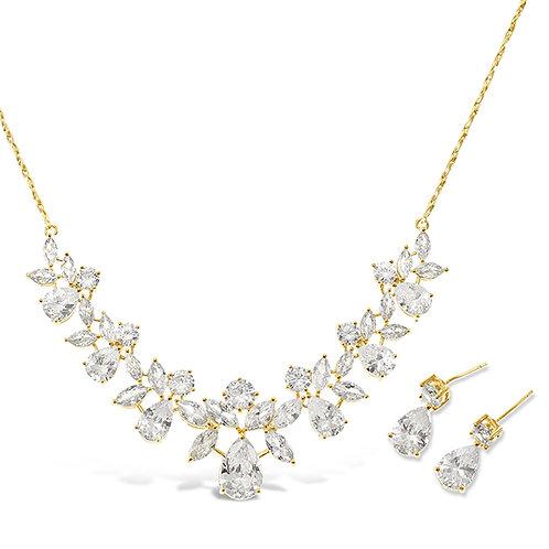 Bitter Sweet Bridal Gold Cubic Zirconia Necklace & Earrings Set 134559