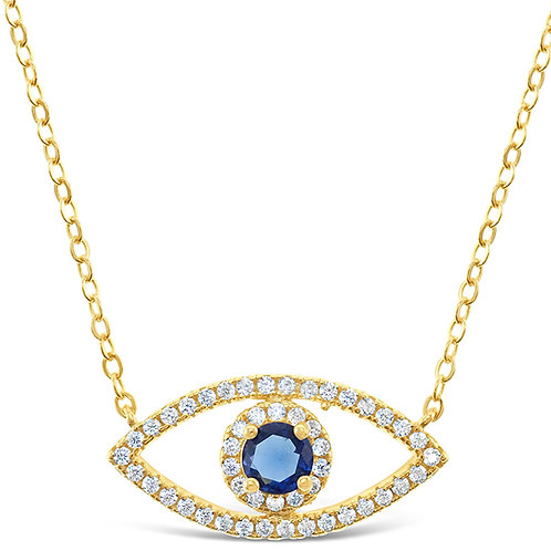 Bitter Sweet Gold Plated Sterling Silver Cubic Zirconia Evil Eye Necklace 143365