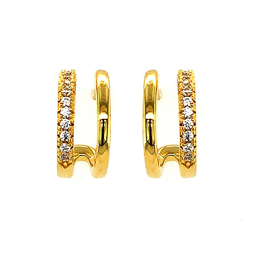 Bitter Sweet Gold Plated Sterling Silver Cubic Zirconia Pave 2Lines Hoop Earrings 143553