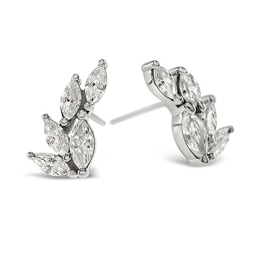 Sterling Silver Cubic Zirconia Leaf Earrings 141754