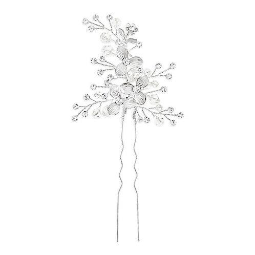 Bridal Silver Flower Hair Stick 125976
