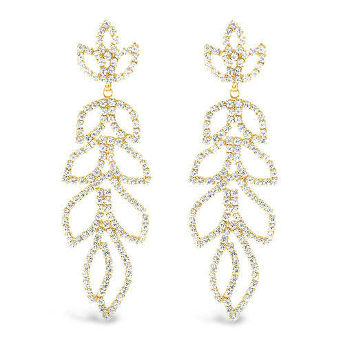 Fashion Gold Rhinestones Long Drops Earrings 142177