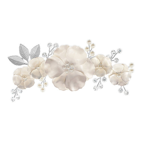 Bridal Silver Matte Flower Hair Clip 142038