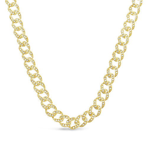 Costume Pave Cuban Link Necklace 136352