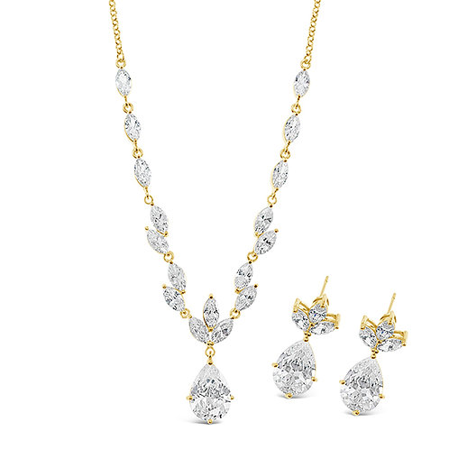 Gold Cubic Zirconia Necklace & Earrings Set 137443