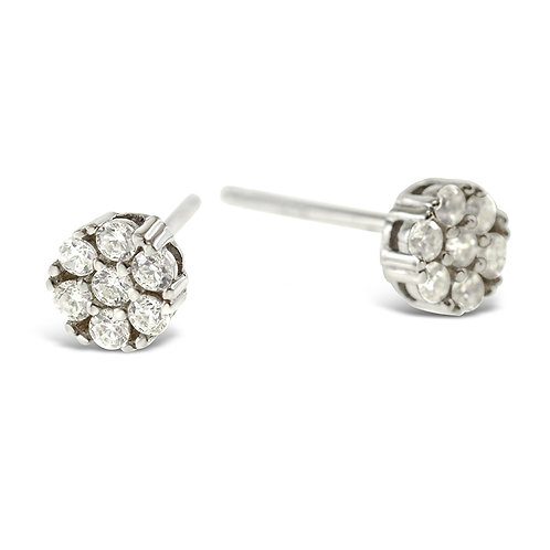 Sterling Silver Cubic Zirconia Round Earrings 130270