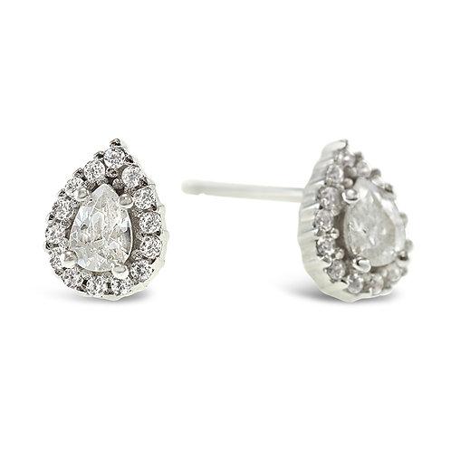 Sterling Silver Cubic Zirconia Tear Drop Earrings 141770