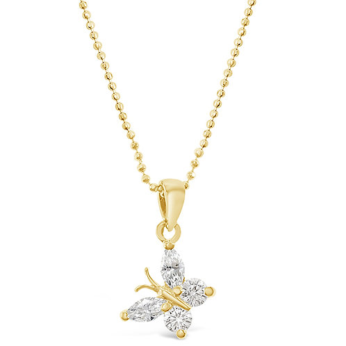 Bitter Sweet Gold Plated Sterling Silver Cubic Zirconia Butterfly Necklace 143353