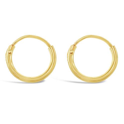 Bitter Sweet Gold Plated Sterling Silver Plain 10mm Hoops Earrings 133176