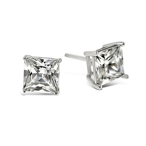 Bitter Sweet Sterling Silver Cubic Zirconia Square 4mm Studs 001466