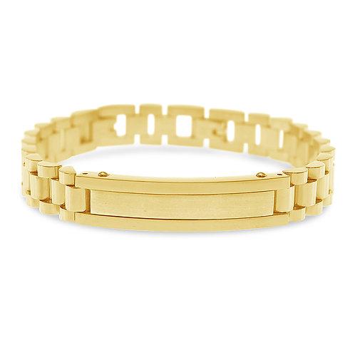Bitter Sweet Jewellery Men's Gold Stainless Steel ID Bracelet 136331