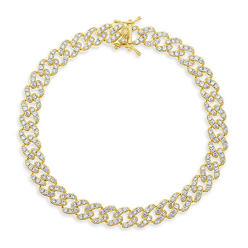 "Bitter Sweet Cubic Zirconia Cuban Link 9"" Inches Anklet 143074"