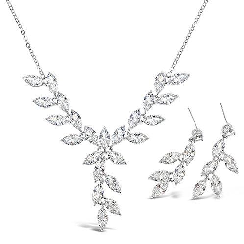 Bitter Sweet Bridal Silver Cubic Zirconia Necklace & Earrings Set 142904