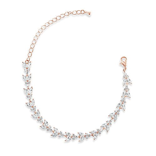 Bridal Rose Gold Cubic Zirconia Bracelet 137426