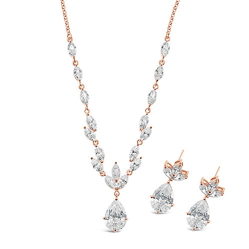 Bridal Rose Gold Cubic Zirconia Necklace & Earrings Set 137444