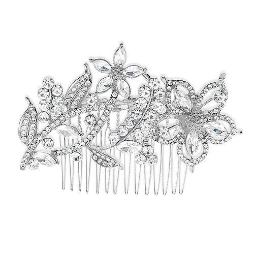 Bridal Silver Flower Hair Comb 142054