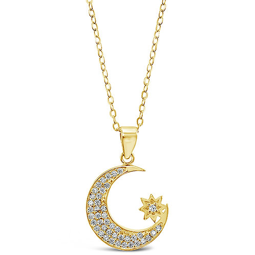 Bitter Sweet Gold Plated Sterling Silver Cubic Zirconia Moon Necklace 143405