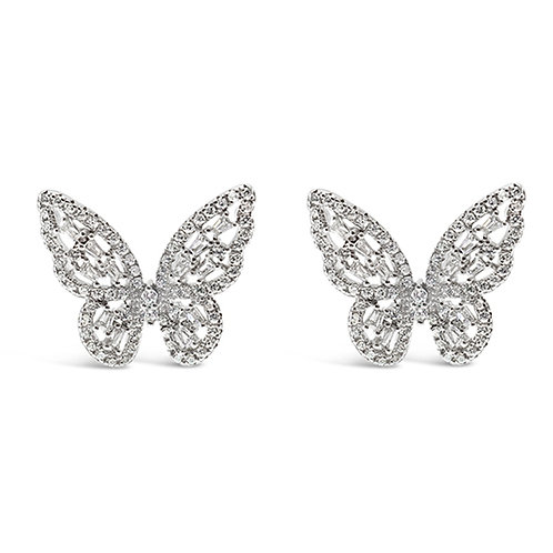 bitter Sweet Sterling Silver Cubic Zirconia Butterfly Earrings 143006