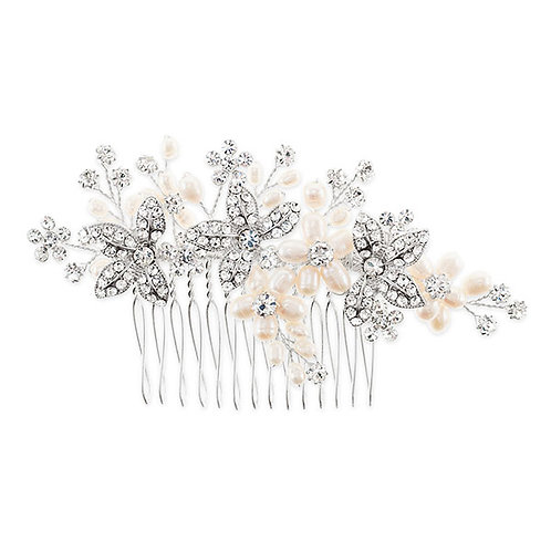 Bridal silver Flower Pearl Hair comb 122893