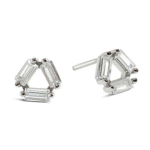 Sterling Silver Cubic Zirconia Triangle Earrings 141759