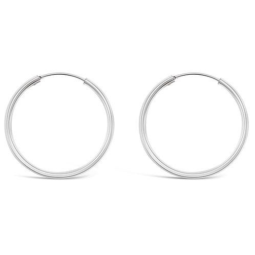 Bitter Sweet Sterling Silver Plain 40mm Hoops Earrings 141815
