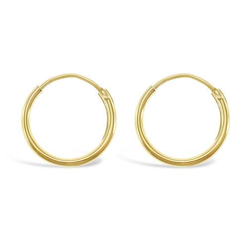 Bitter Sweet Gold Plated Sterling Silver Plain 12mm Hoops Earrings 133177