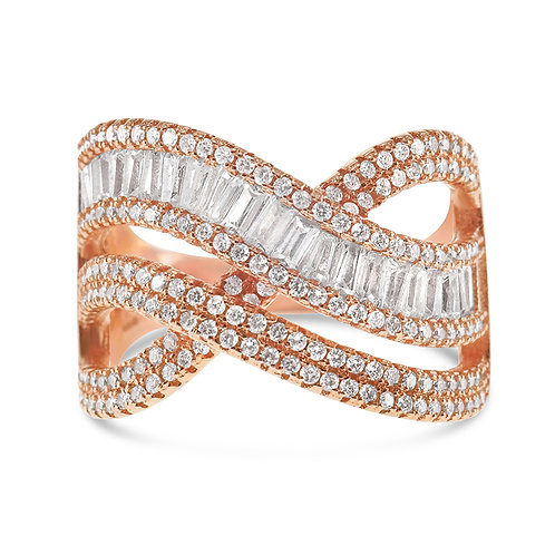 Bitter Sweet Rosegold Plated Sterling Silver Cubic Zirconia Ring 131209
