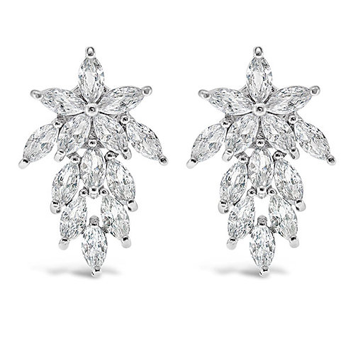Bitter Sweet Bridal Silver Cubic Zirconia Stud Earrings 129761