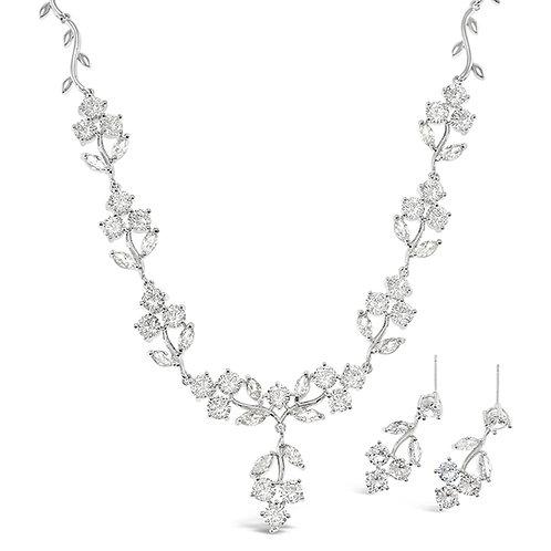 Bitter Sweet Bridal Silver Cubic Zirconia Necklace & Earrings Set 142903