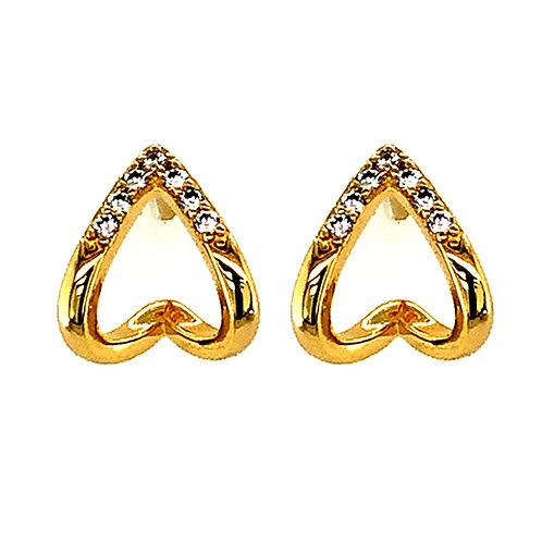 Bitter Sweet Gold Plated Sterling Silver Cubic Zirconia V 2Lines Stud Earrings 143551
