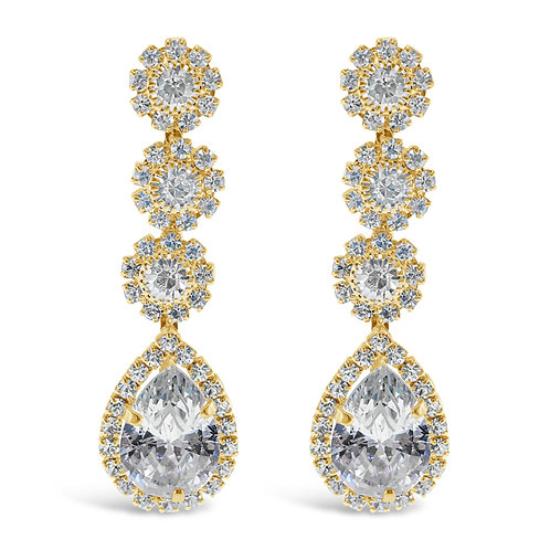 Fashon Gold Rhinestones Tear Drop Earrings 142196