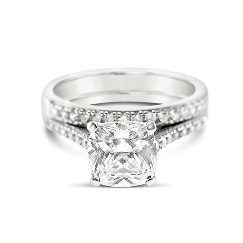 Bitter Sweet Sterling Silver Cubic Zirconia Square Cushion Set Ring 125806