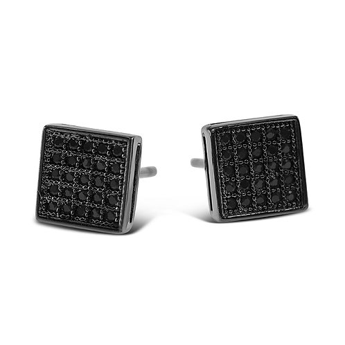 Bitter Sweet Rhodium Plated Sterling Silver Black Cubic Zirconia Earrings 142504