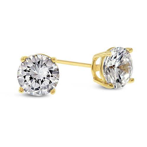 Bitter Sweet Yellow Gold Plated Sterling Silver Cubic Zirconia 7mm Studs 126016