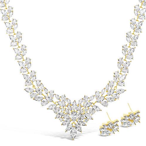 Bitter Sweet Bridal Gold Cubic Zirconia Necklace & Earrings Set 143586