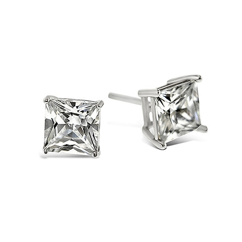Bitter Sweet Sterling Silver Cubic Zirconia Square 2mm Studs 001471