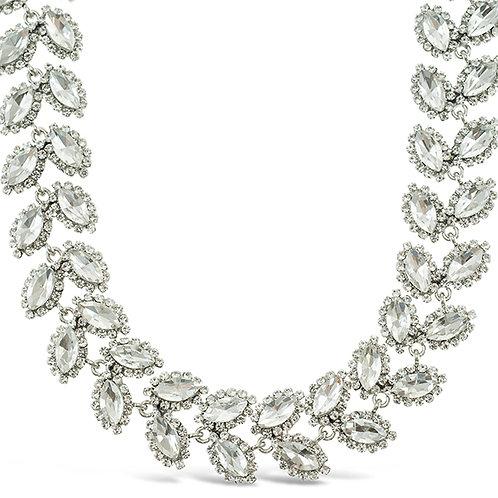 Costume Silver Crystal Leaf Necklace 140990