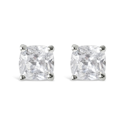 Sterling Silver Cubic Zirconia Cushion Studs 143349
