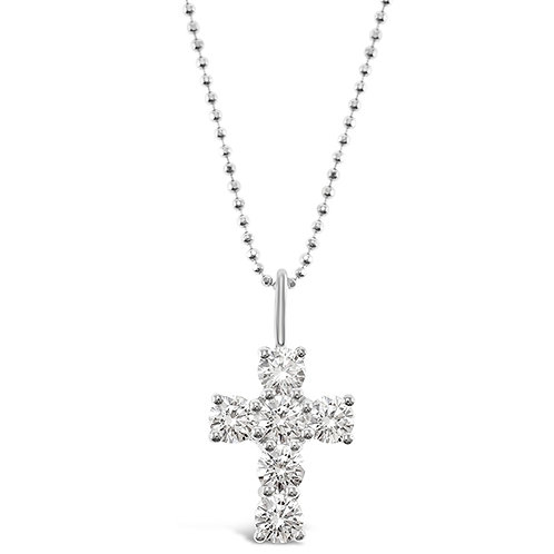 Bitter Sweet Sterling Silver Cubic Zirconia Cross Necklace 141131