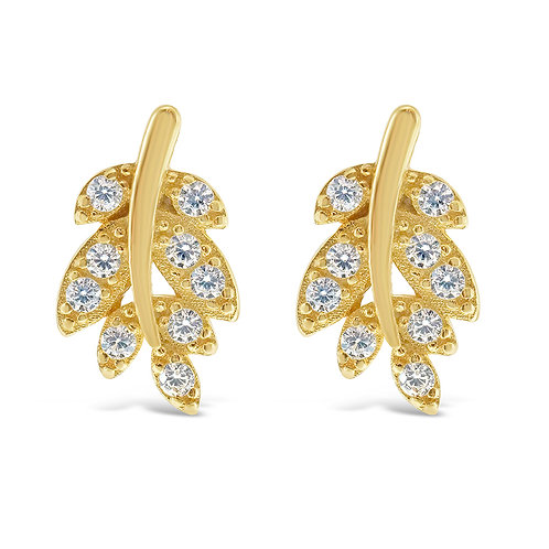 Bitter Sweet Gold Plated Sterling Silver Cubic Zirconia Leaf Earrings 141765