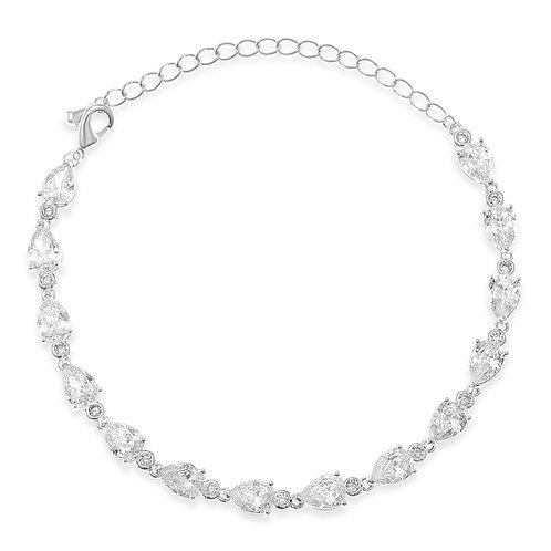 Bitter Sweet Bridal Cubic Zirconia Silver Tear Drop Bracelet 134379