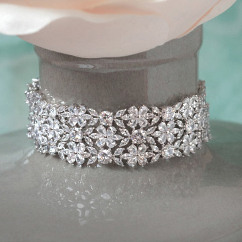 Bridal Silver Cubic Zirconia Bracelet 123624