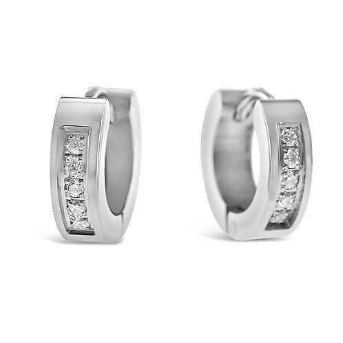 Bitter Sweet Jewelery Stainless Steel Silver Cubic Zirconia Huggie Earrings 142416