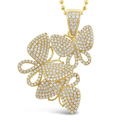 Gold Plated Sterling Silver Cubic Zirconia Butterfly Necklace 143008