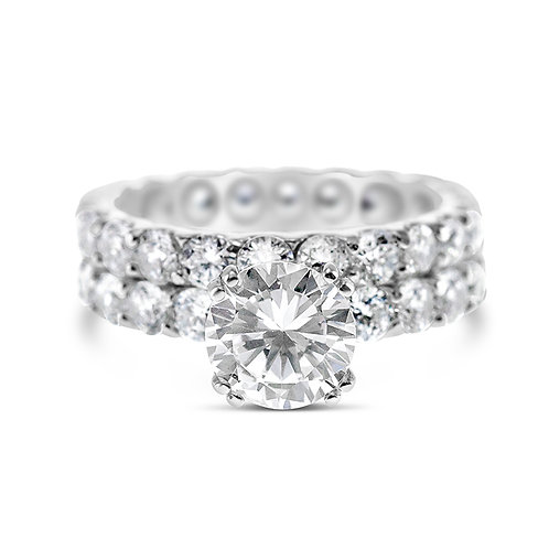 Bitter Sweet Sterling Silver Cubic Zirconia Ring Set 140047